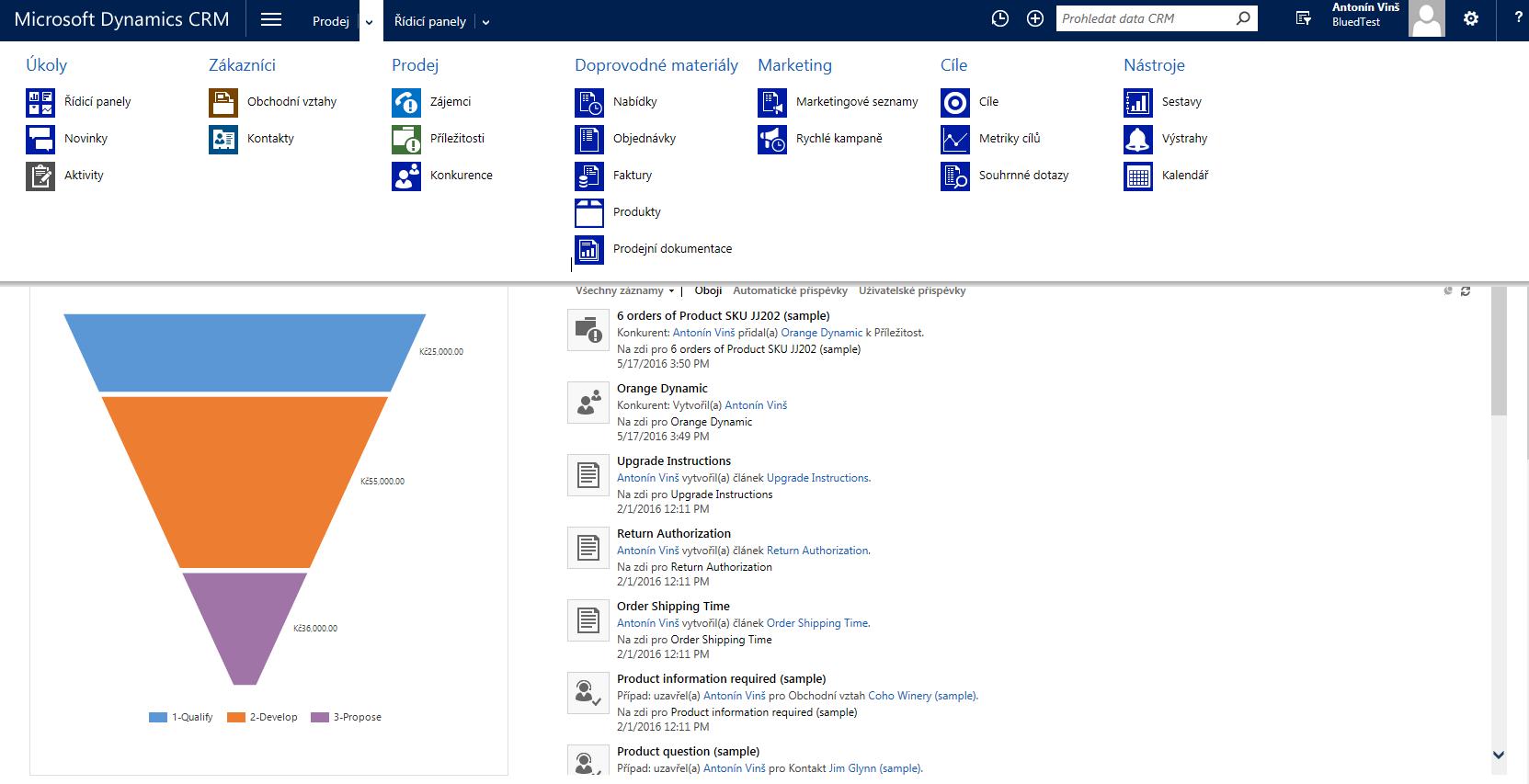 Dynamics CRM menu