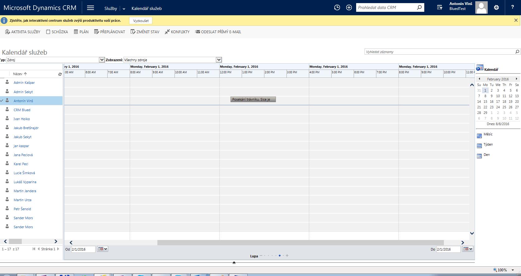 Servisní kalendář Dynamics CRM BlueDynamic