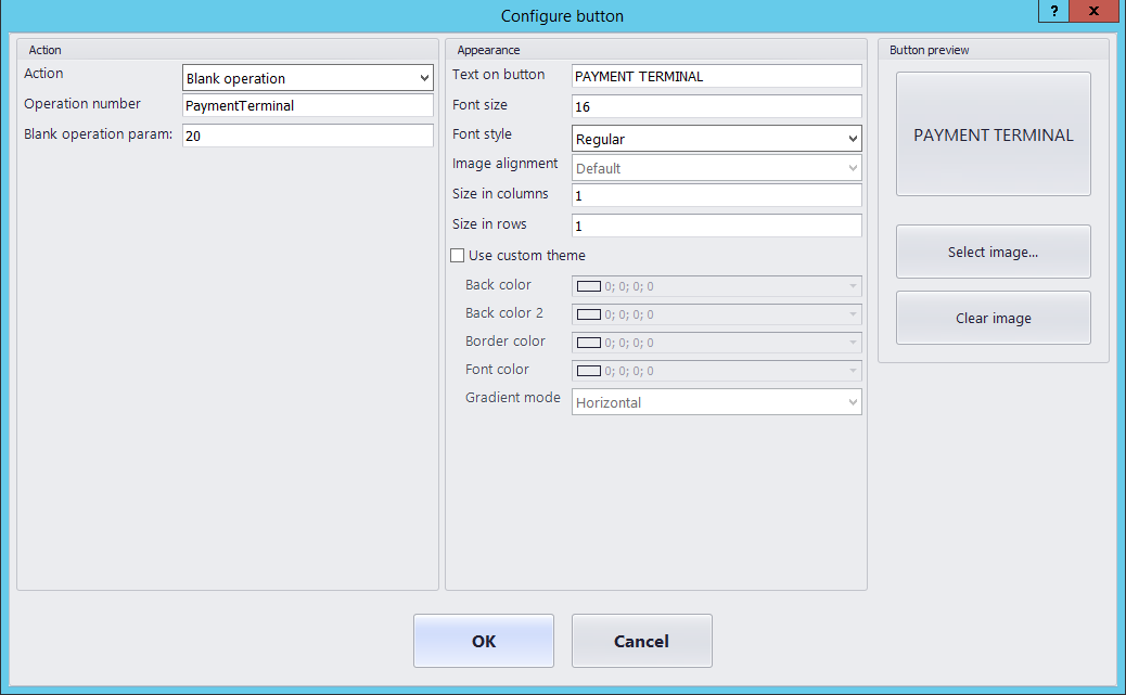 Configure button POS Blue Dynamic Blue Dynamic