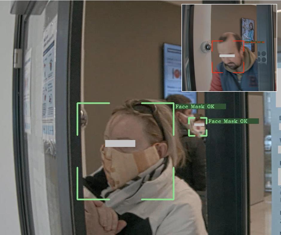 identifikace osob bez rousky kamery ai Blue Dynamic